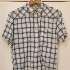 Lucky Brand navy and blue plaid Western shirt